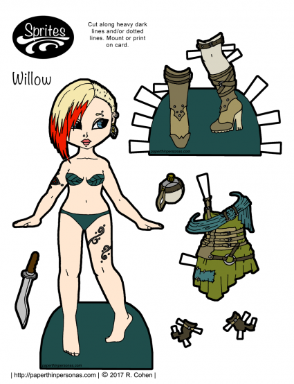 A post-apocalyptic fashion printable paper doll with a green and teal dress, boots and tattoos. Free to print and play with from paperthinpersonas.com.