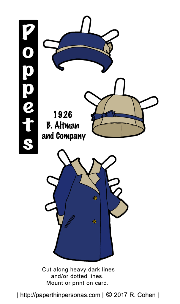 A paper doll dress based on a 1927 design for an 'apron dress' with a matching hat to color. Free to print from paperthinpersonas.com.