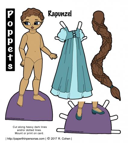 My Rapunzel paper doll is printable and has a long braid of hair. Her skin is a soft brown color and her hair is darker brown. Her dress is two layers in darker and lighter teal. She has matching shoes.