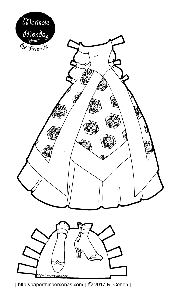 A fantasy princess paper doll ball gown to print, color, and play with. One of hundreds of paper dolls to print from paperthinpersonas.com.