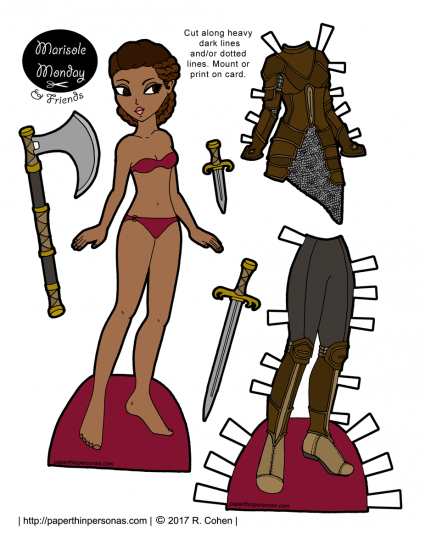 A printable paper doll with brown hair is a braided style. Her armor is chainmail with leather armor over it. She also has leggings and brown leather boots. Her accessories are an axe, a sword and a knife.