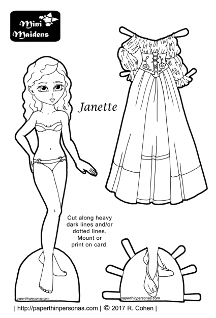 A fairy tale maiden paper doll with wavy hair and a fantasy dress. Free to print and color from paperthinpersonas.com.