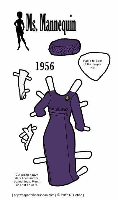 A paper doll dress based on a pattern cover from 1956 for the Ms. Mannequin paper doll series in grape purple.