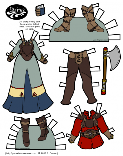 A set of fantasy printable paper doll clothing. There is a dress with a leather breastplate over it for the female Sprite paper dolls. There is also a red tunic under leather armor with leggings and boots for the guy Sprites paper dolls.