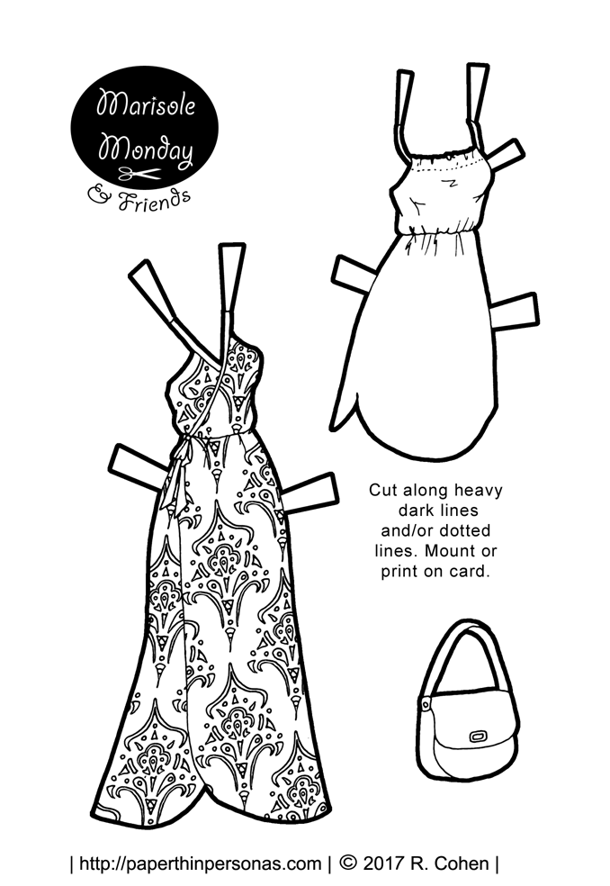 A pair of paper doll sundresses to print, cut out and dress up a printable paper doll in.