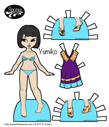 Yumiko, an Asian paper dolls, with a sundress and two pairs of shoes. Free to print and play with from paperthinpersonas.com.