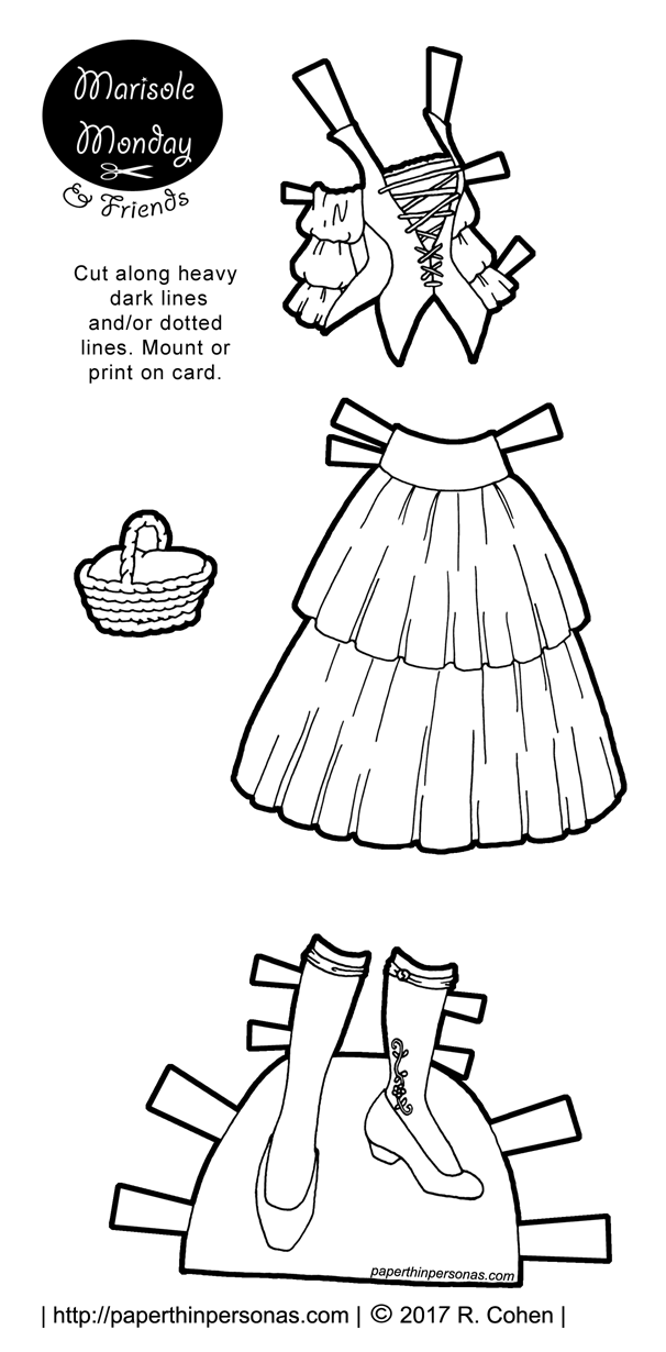 A 15th century dress for a paper doll with a headdress based on manuscript illustrations to print and color from paperthinpersonas.com.