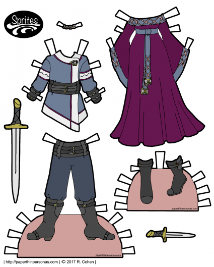 A set of medieval inspired fantasy clothing for the Sprites printable paper dolls. The guy paper doll outfit is a long sleeved tunic and trousers tucked into boots. The lady Sprite outfit is a bell sleeved dress with a belt and trim. Accessories include a sword, dagger and necklace.
