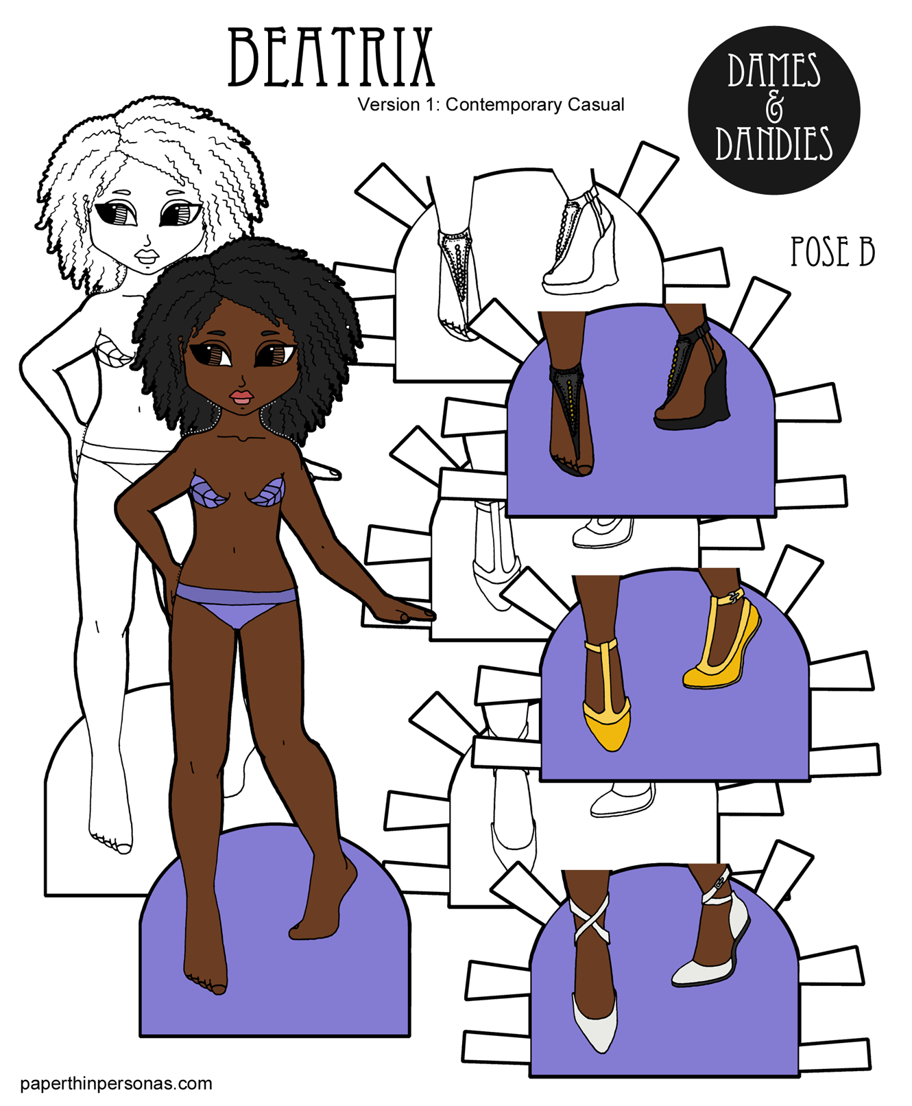 A Black Paper Doll With Curly Natural Hair To Print In Color Or And White