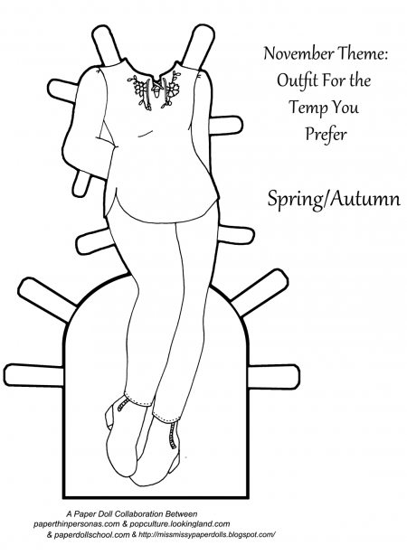 A printable paper doll coloring page from paperthinpersonas.com.