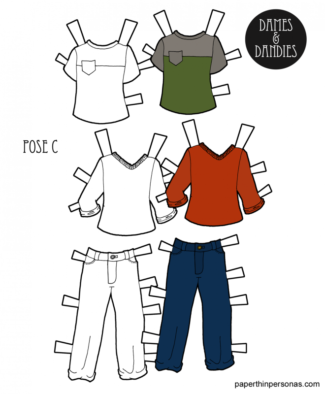 A set of boy paper doll clothing with jeans and two shirts for the Dames and Dandies paper doll series from paperthinpersonas.com.