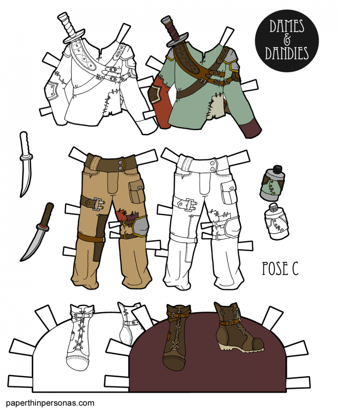 A set of post-apocalyptic clothing for the free printable paper dolls from paperthinpersonas.com