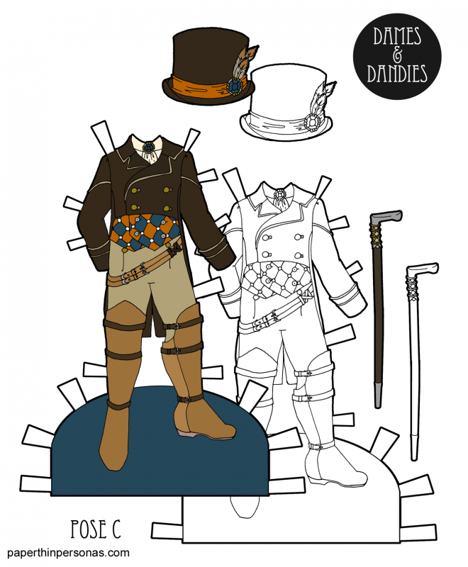 An elegant men's steampunk suit for the guy paper dolls from paperthinpersonas.com. Available in color or black and white.