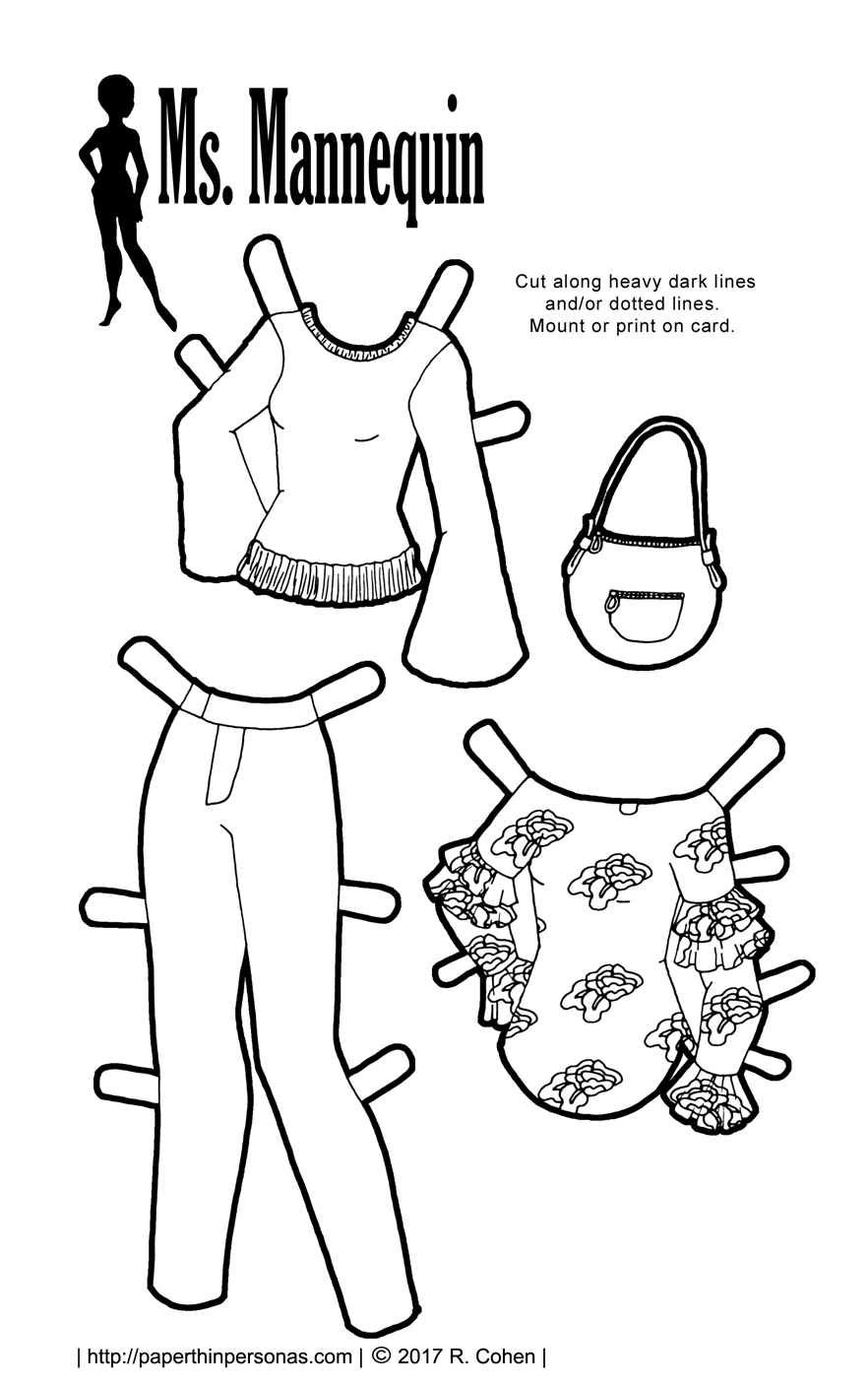 Some super trendy paper doll clothing coloring today! Sleeve details and floral prints for paper dolls. Free to print from paperthinpersonas.com.