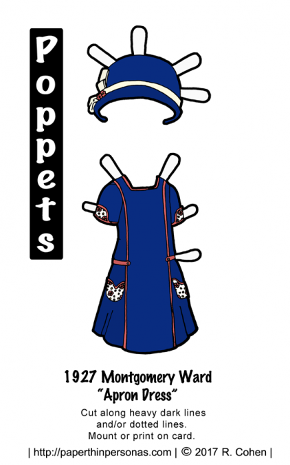A paper doll dress based on a 1927 design for an 'apron dress' with a matching hat in blue and coral pink. Free to print from paperthinpersonas.com.