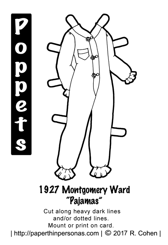 A pair of 1920's pajamas based on designs sold by the Montgomery Ward department store in 1927 for the Poppets printable paper dolls from paperthinpersonas.com..