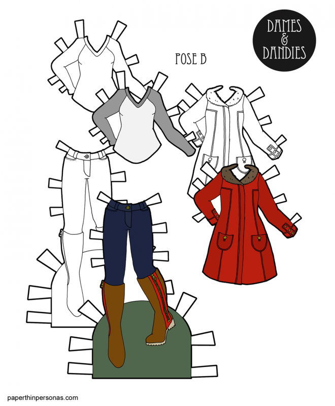 A warm winter coat for the paper dolls with jeans and boots. Free to print in color or black and white.