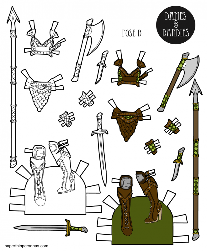 Pulpy ladies fantasy armor designed for the free printable paper dolls- Dames and Dandies from paperthinpersonas.com.