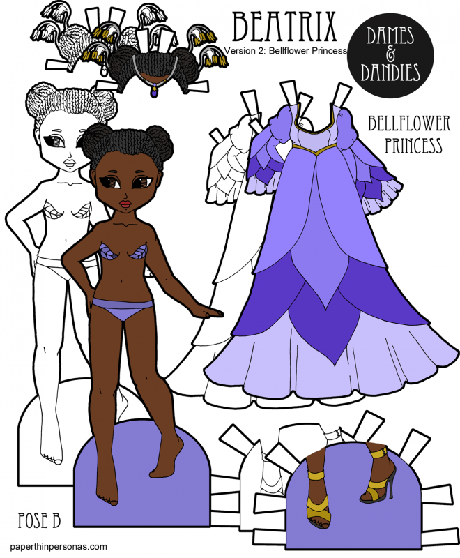 A beautiful black princess paper doll with braids and a ballgown inspired by the bellflower. She can wear any of the B Pose paper doll clothing from Paperthinpersonas.com.