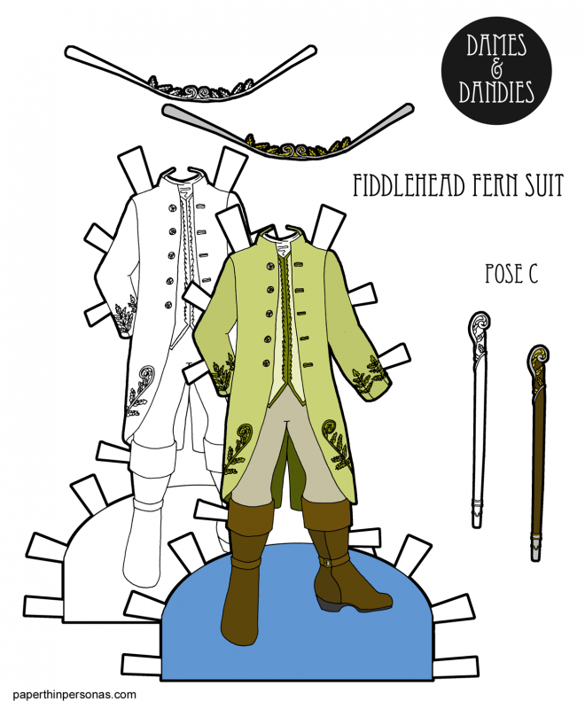 A suit inspired by the 18th century and the fiddlehead fern for a paper doll prince. Free to print in color or black and white and the perfect accompaniment for any paper doll princess.