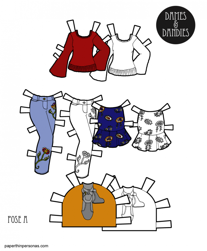 Trendy winter clothing for paper dolls with a sweater, and two different bottoms.