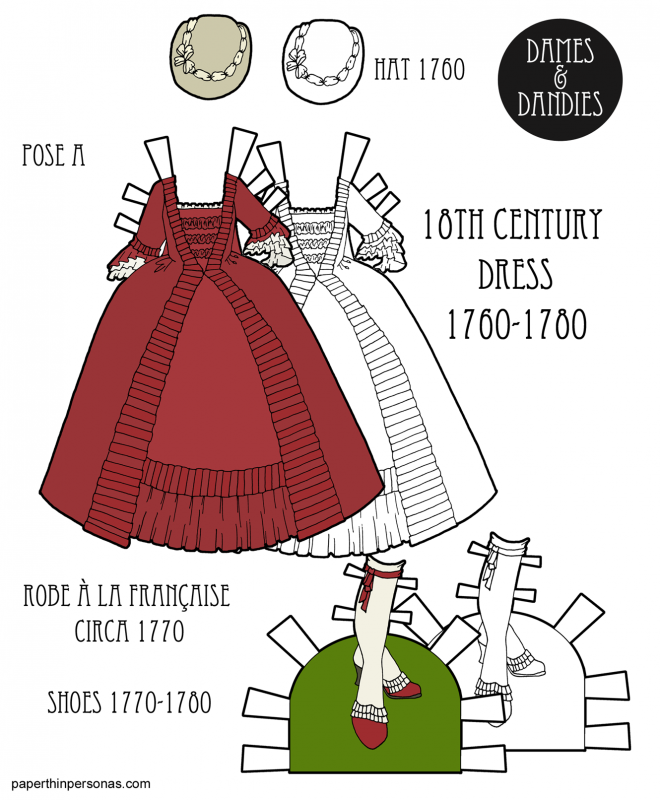 An 18th century paper doll dress based on a 1770 Robe à la Française with a hat and matching shoes in black and white or color.