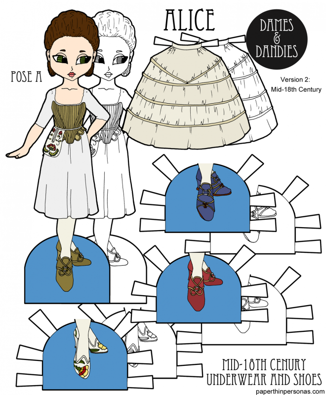A paper doll with 18th century underwear including a shift, stays, pocket, hoops and shoes. She's free to print in black and white or in color from paperthinpersonas.com. Great for homeschooling history lessons about women's fashion through time.