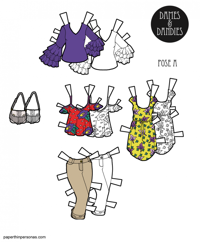 A set if spring time paper doll clothing in color or black and white. Two tops, one sun dress and a pair of capri pants with a purse.