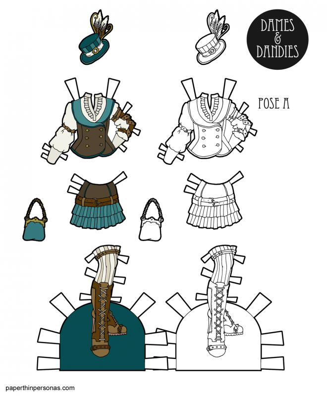 A set of steampunk style paper doll clothing designs consisting of a vest over blouse, a skirt with pleated details, boots, stockings, a purse and matching hat in browns and teals or in black and white for you to color any way you like.