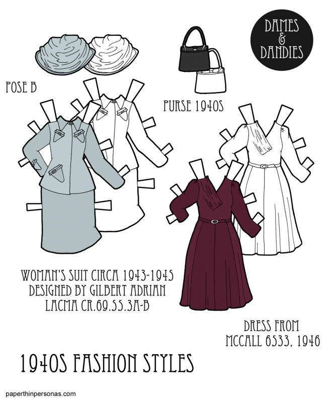 A pair of 1940s dresses for the printable paper dolls from paperthinpersonas.com. On the left, there is a suit from Adrian dated to 1943-1945 and on the right a dress from McCall's sewing patterns from 1946. Available to print in color or black and white.