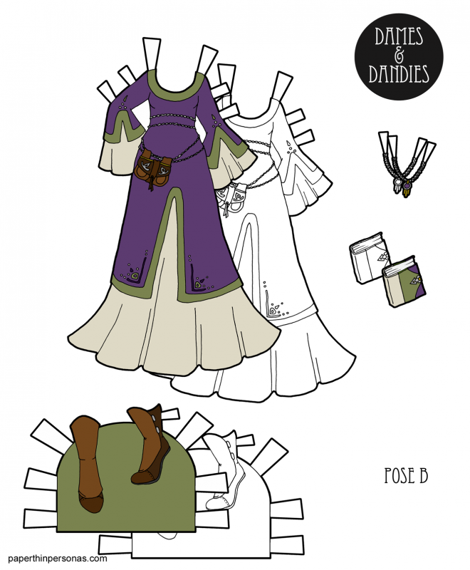 Today's paper doll dress is a fantasy dress design with a surcoat over a under-dress in black and white or in color. The accessories are a pair of boots, a book and a necklace.