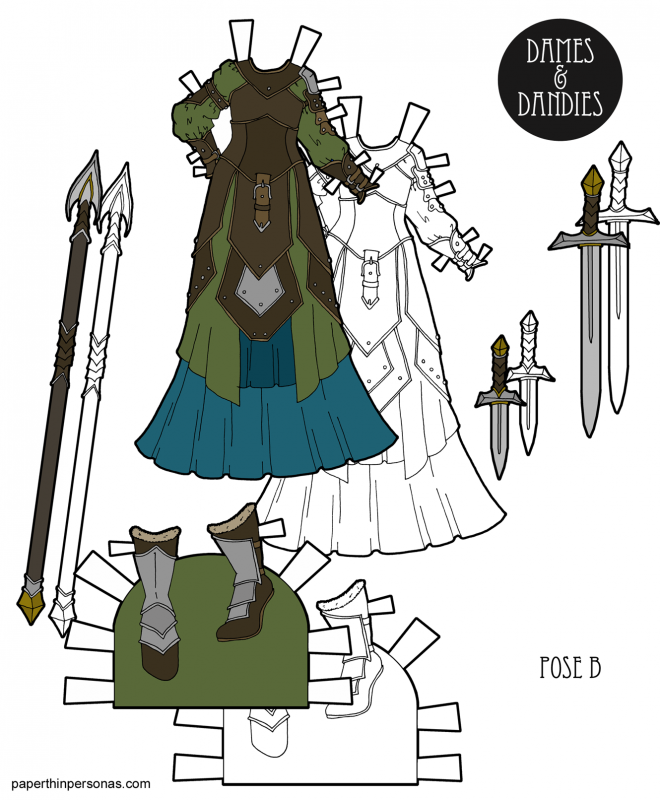 A fantasy gown under laters of leather fantasy armor for the B Pose paper dolls. Printable paper doll dress in black and white or in color.