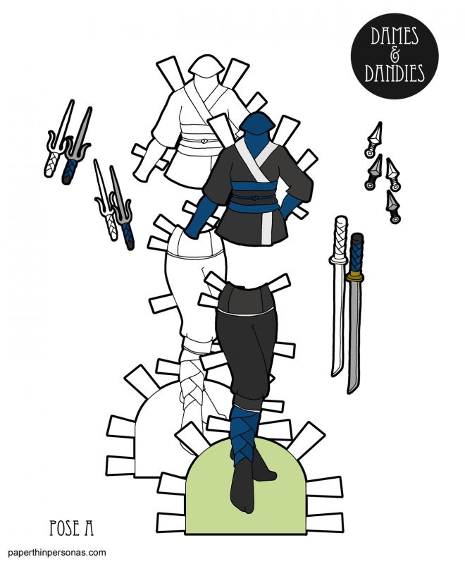 A set of ninja inspired paper doll clothing for the A Pose paper dolls with swords and accessories.