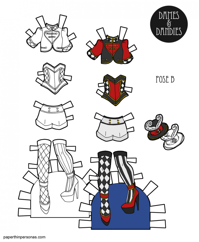 I love circuses. So, today's printable paper doll clothes are inspired by the shapes and colors of the circus. Free to print in color or black and white for coloring.