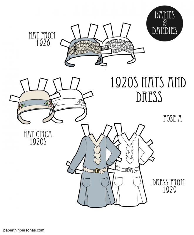 A paper doll dress from 1929 with two different cloche style hats.