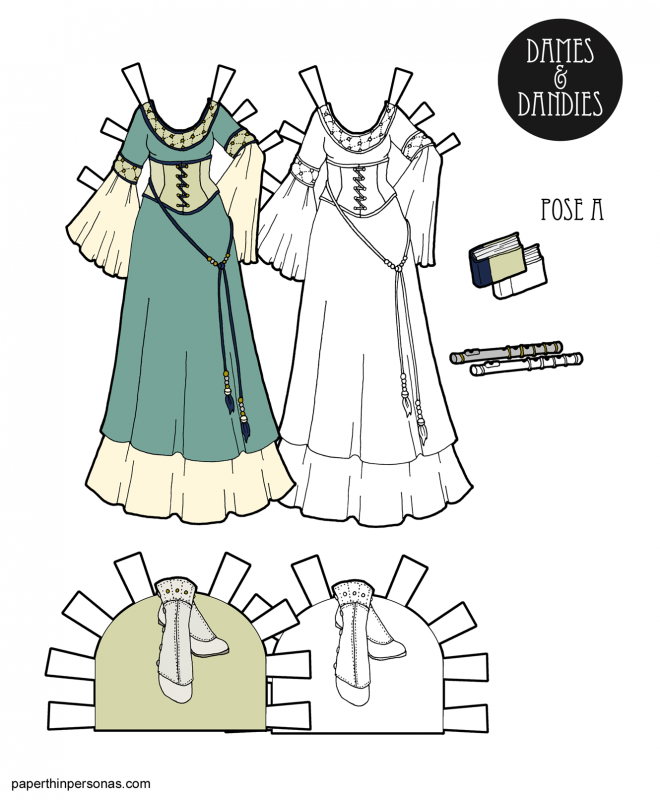 A fantasy paper doll dress to print inspired by medieval gowns and Lord of the Rings.