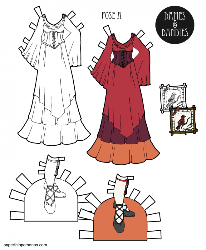 A fantasy maiden gown for a paper doll in sunset colors with accessories from paperthinpersonas.com.