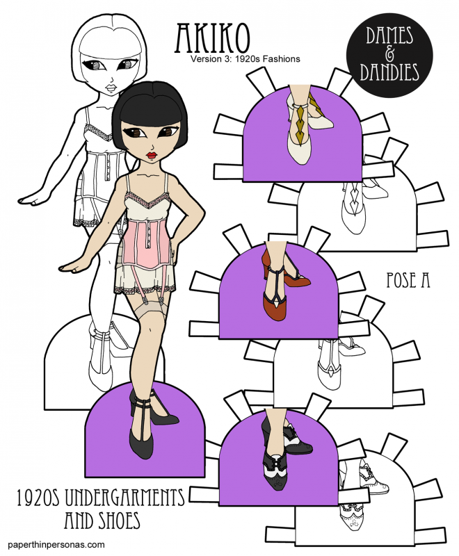 A set of 1920s underwear and shoes for an Asian paper doll named Akiko. She's free from print in color or black and white for coloring.