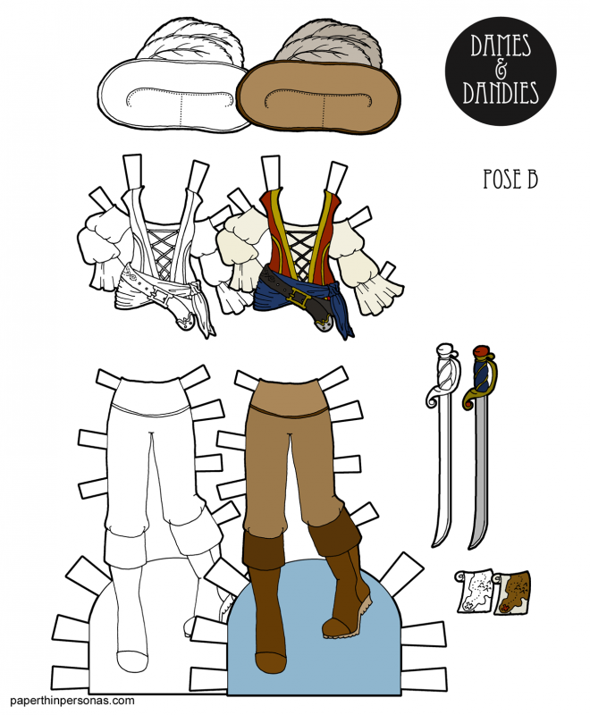 Pirate costume with hat, sword and treasure map. Free to pirate printables in black and white or in a color.