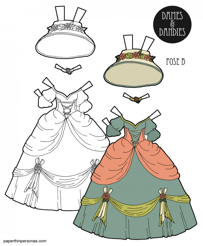 A fantasy princess paper doll dress with matching hat decorated with roses and ribbons. Available to print in color or as a paper doll coloring page.