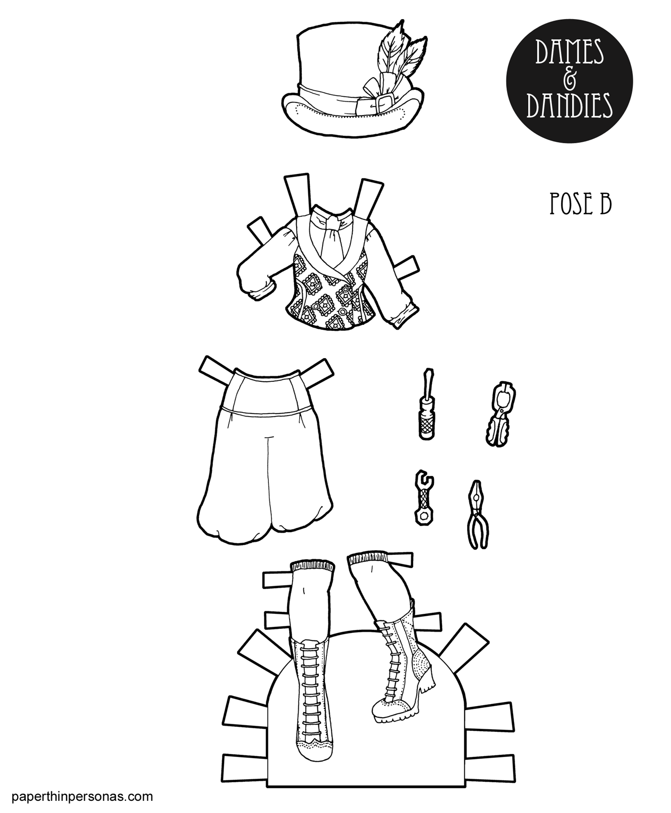 steampunk paper doll clothing coloring page from. Black Bedroom Furniture Sets. Home Design Ideas