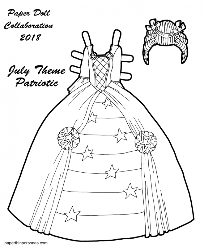 A rococo inspired fantasy paper doll princess gown with wig to print, color and cut out from paperthinpersonas.com.
