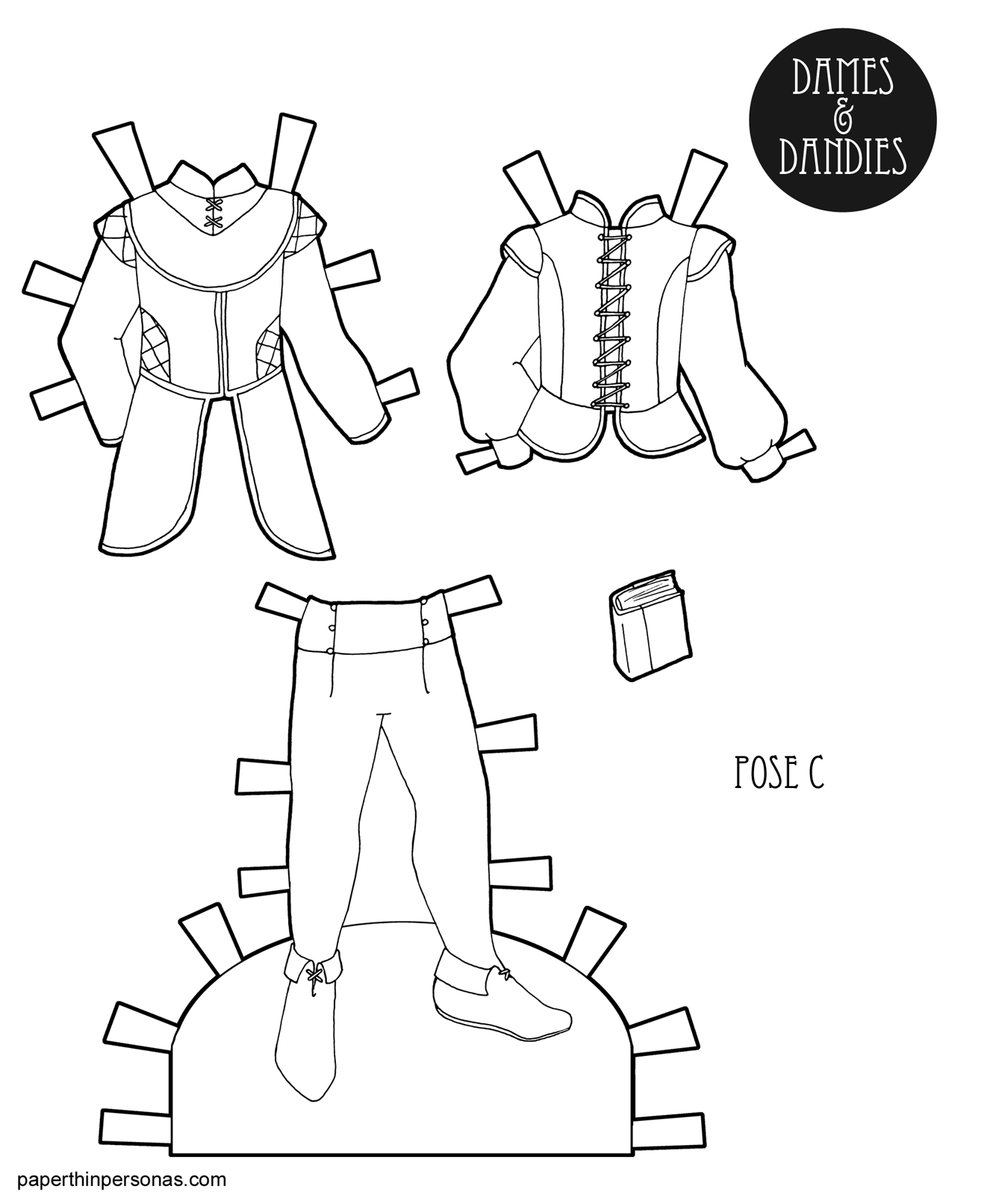 A Coloring Page Printable: Men\'s Fantasy Paper Doll Clothing