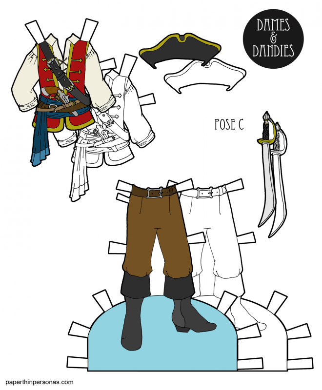 A set of pirate paper doll clothing designed for the C Pose guy paper dolls in color and black and white for coloring. Pirate paper dolls are so much fun!