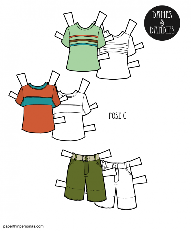 Paper doll men's clothing. Shorts and two t-shirts with stripes. Free to print in color or black and white from paperthinpersonas.com.
