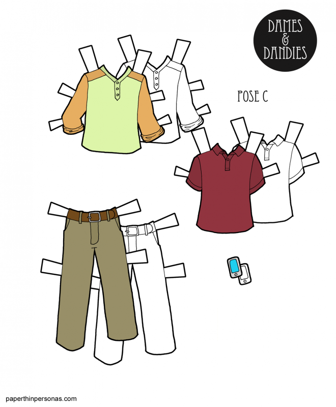 A set of casual clothing for the guy paper dolls consisting of a pair of slacks, Henley shirt and polo. Also a cell phone accessory. Free to print from paperthinpersonas.com.