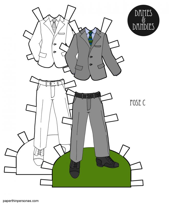 A suit for a paper doll man to print in color or black and white from paperthinpersons.com. In color, the suit is grey with a multi-colored striped tie.