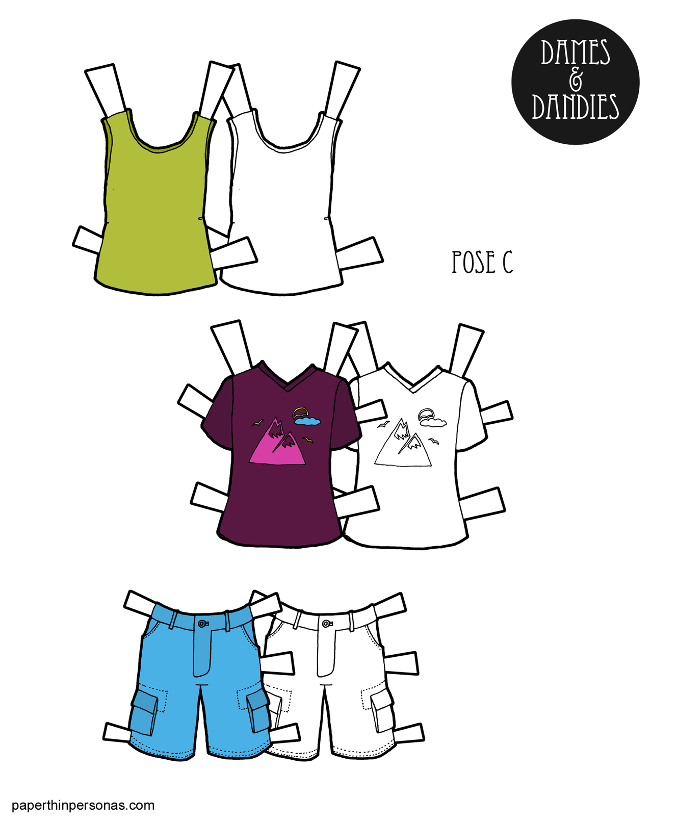 A Summery Set Of Guy Paper Doll Clothing With Cargo Shorts Tank Top And