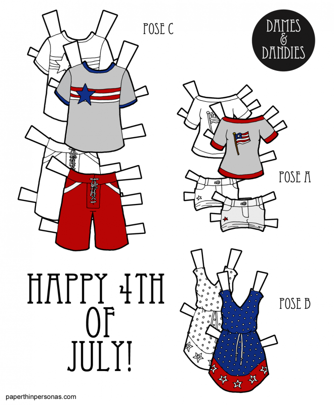 A set of 4th of July paper dolls from paperthinpersonas.com.