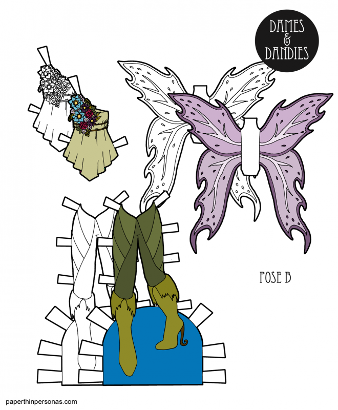 A set of fairy wings and clothes for the B pose printable paper dolls with wings, boots and a blouse. Free to print from paperthinpersonas.com